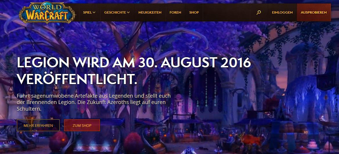 WoW Internetseite Neues Design